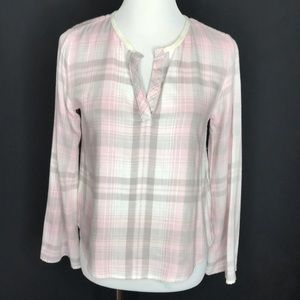 Anthropologie Pink Flannel Plaid Popover Top